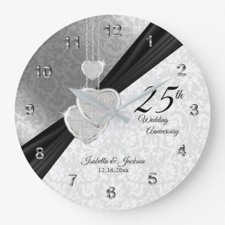 25th Silver Wedding Anniversary  Keepsake Large Clock