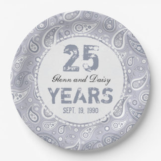 25th Silver Wedding Anniversary Paisley Pattern Paper Plate