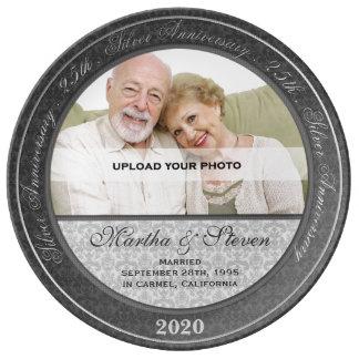 25th Silver Wedding Anniversary Photo Porcelain Plates