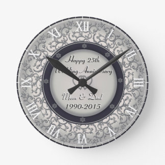 25th Silver Wedding Anniversary Round Clock