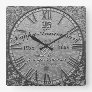 25th Silver Wedding Anniversary Vintage Antique Square Wall Clock