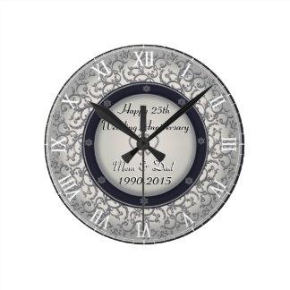 25th Silver Wedding Anniversary Wall Clocks