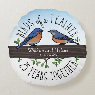 25th Wedding Anniversary, Bluebirds of a Feather Round Cushion