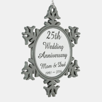 25th Wedding Anniversary Chic Silver Typography Snowflake Pewter Christmas Ornament
