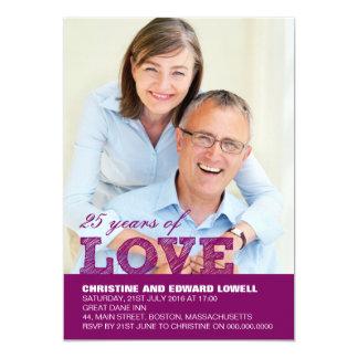 25th Wedding Anniversary Invitation in Purple