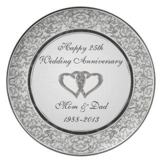 25th Wedding Anniversary Melamine Plate