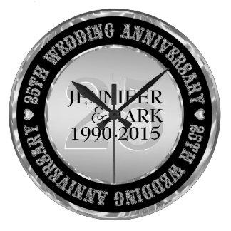 25Th Wedding Anniversary Metallic Silver & Black 2 Large Clock