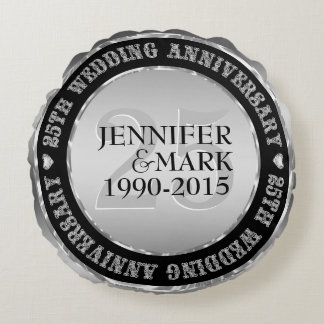 25Th Wedding Anniversary Metallic Silver & Black 2 Round Cushion