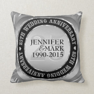 25Th Wedding Anniversary Metallic Silver & Black 2 Throw Pillow