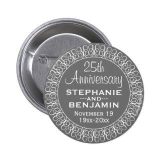 25th Wedding Anniversary Personalized 6 Cm Round Badge