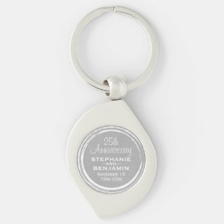 25th Wedding Anniversary Personalized Silver-Colored Swirl Key Ring