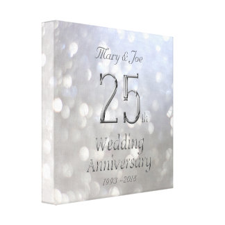 25th Wedding Anniversary Silver Bokeh Typography Canvas Print