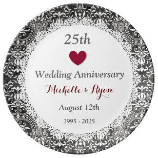 25th Wedding Anniversary Silver Grey Damask A03 Porcelain Plate