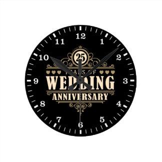 25th Wedding Anniversary Wallclocks