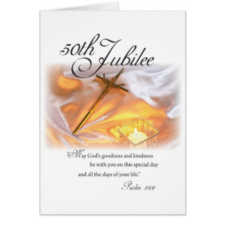 2682 Golden Jubilee Religious Life Cross Candle Card