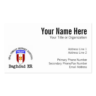 28th CSH Baghdad ER Pack Of Standard Business Cards