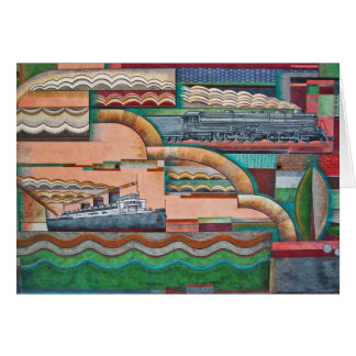 #2 1929 Deco Transportation Mural Card