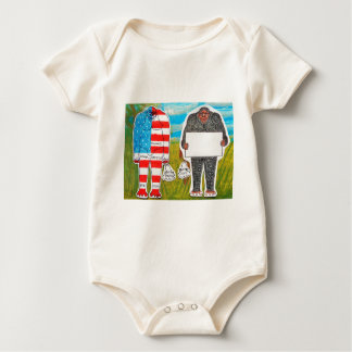 2 big foot H, text & flag in Everglades,.JPG Baby Bodysuit