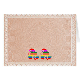 2 Cute Jewel Flower on Embossed Gold Foil Card