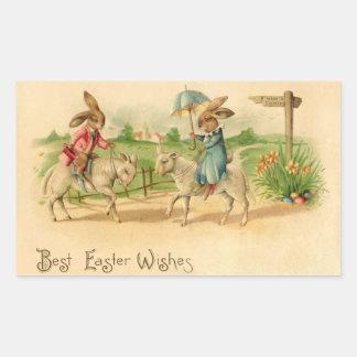 2 Easter bunnies on lambs Rectangular Sticker