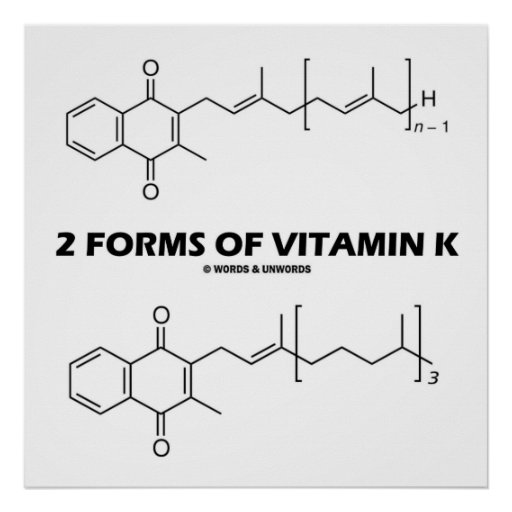 2 Forms Of Vitamin K (Chemical Molecules) Posters
