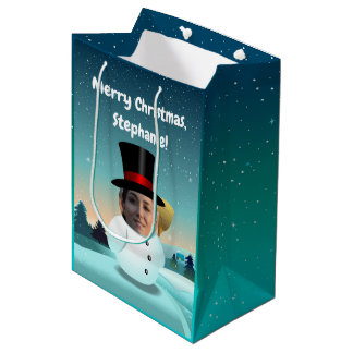 2 Funny Snowmen Customised With Your Own Photos Medium Gift Bag