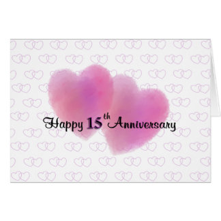 2 Hearts Happy 15th Anniversary Card