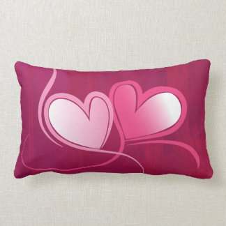 2 Hearts on a Fuschia Pink Background Pillow