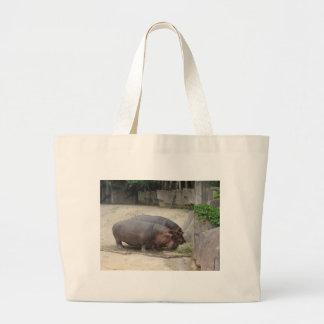 2 hippopotamus large tote bag