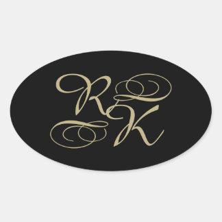 2 Initials And Swirls Custom Monogram Oval Sticker