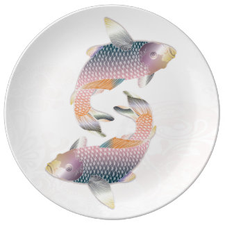 2 Rainbow Koi Fish on Pink Waters Porcelain Plates