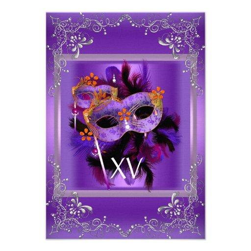 2 Reception Quinceanera Masquerade Mask Purple Personalized Invite