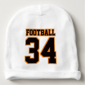 2 Side Beanie WHITE BLACK ORANGE Football Jersey Baby Beanie