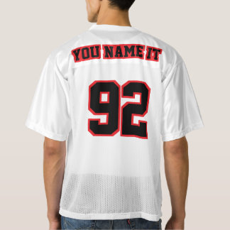 2 Side BLACK RED WHITE Mens Football Jersey