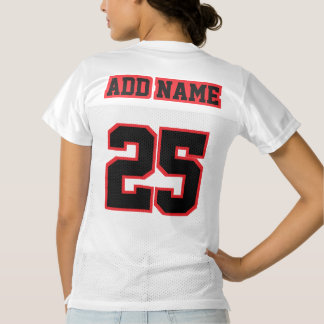 2 Side BLACK RED WHITE Womens Football Jersey