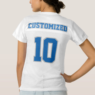 2 Side BLUE SILVER WHITE Womens Football Jersey