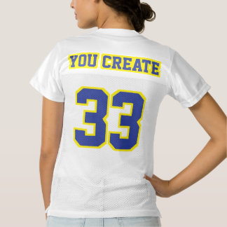 2 Side BLUE YELLOW WHITE Women Football Jersey