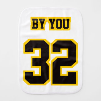 2 Side Burp Cloth WHITE BLACK GOLD Football Jersey