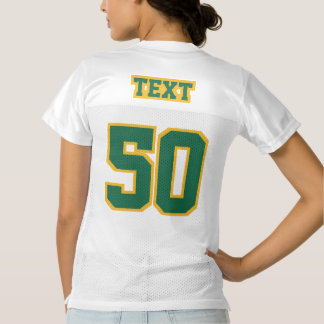 2 Side DARK GREEN GOLD WHITE Women Football Jersey