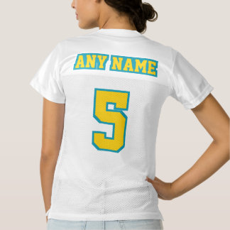 2 Side GOLDEN YELLOW TEAL WHITE Womens Jersey