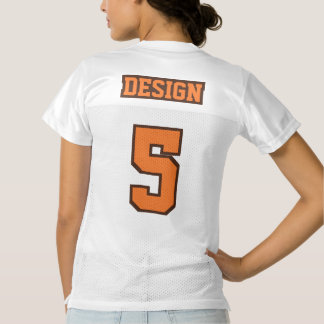 2 Side ORANGE BROWN WHITE Womens Football Jersey