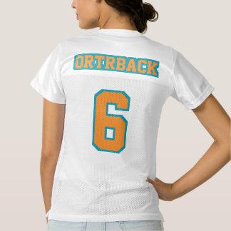 2 Side ORANGE TEAL WHITE Womens Football Jersey