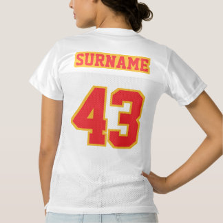 2 Side RED GOLD WHITE Womens Football Jersey