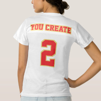2 Side RED OLD GOLD WHITE Women Football Jersey
