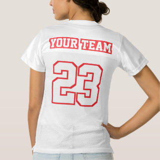 2 Side RED WHITE Womens Football Jersey