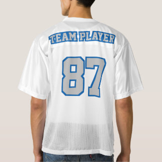 2 Side SILVER GRAY BLUE WHITE Mens Football Jersey