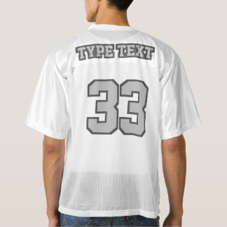 2 Side SILVER GRAY WHITE Mens Football Jersey