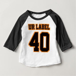 2 Side WHITE BLACK ORANGE 3/4 Sleeve Raglan Baby T-Shirt