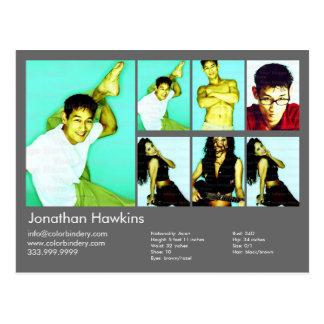 2-Sided Actor & Model Dark Grey Headshot Comp Postcard