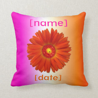 2-Sided Hot Pink and Orange Gerbera Daisies Cushion